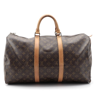 Louis Vuitton Keepall 50 Duffle Bag in Monogram Canvas