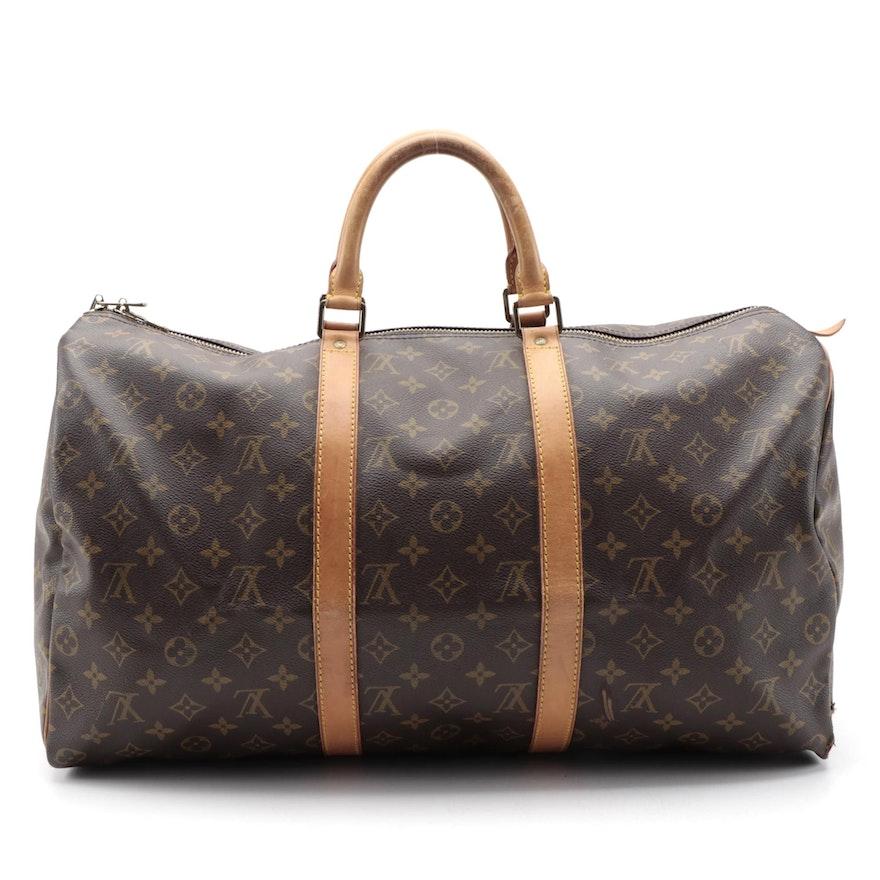 Louis Vuitton Keepall 50 Duffle Bag in Monogram Canvas