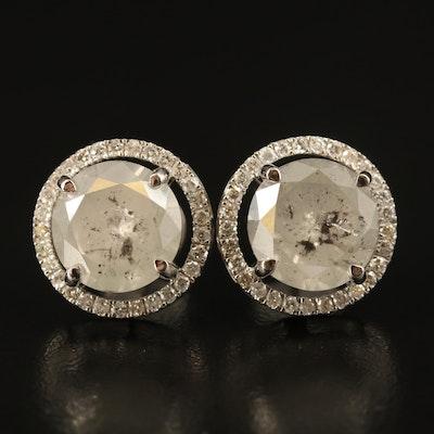 18K 9.84 CTW Diamond Halo Stud Earrings
