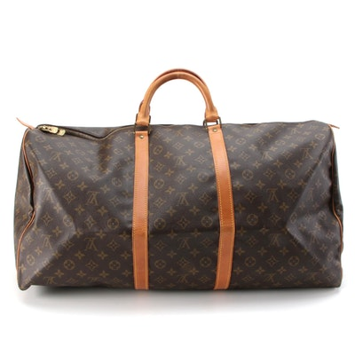 Louis Vuitton Keepall 60 Duffel Bag in Monogram Canvas with Vachetta Leather