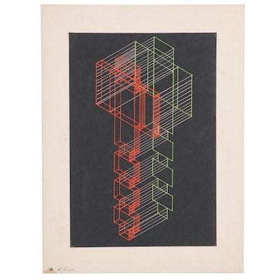 John Tuska Geometric Acrylic Painting