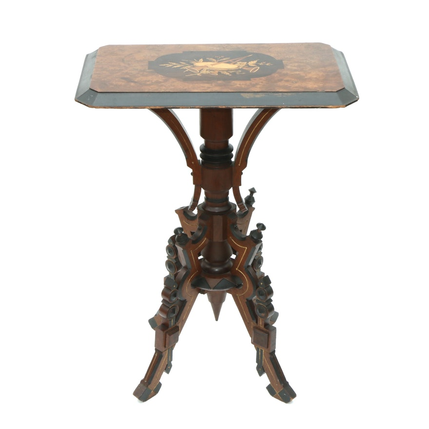 Aesthetic Movement Walnut, Ebonized and Marquetry Hall Table