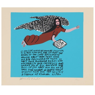 Howard Finster Serigraph Print of an Angel