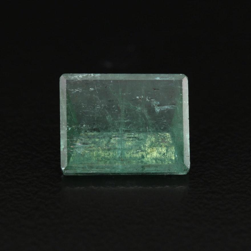 Loose 4.93 CTW Cut Cornered Rectangular Faceted Emerald