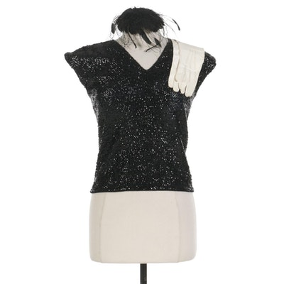 Sequin and Bead Embellished V-Neck Top, Feather Fascinator, and Leather Gloves