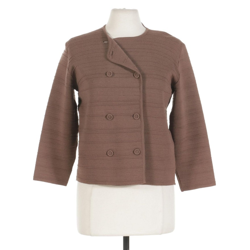 Cavalieri Textured Knit Wool Double-Breasted Cardigan