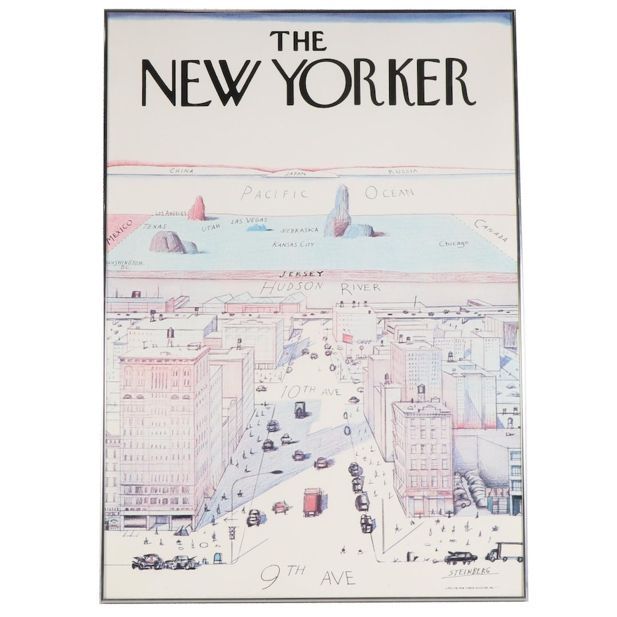 """Offset Lithograph after Saul Steinberg """"View of the World From 9th Avenue"""""""