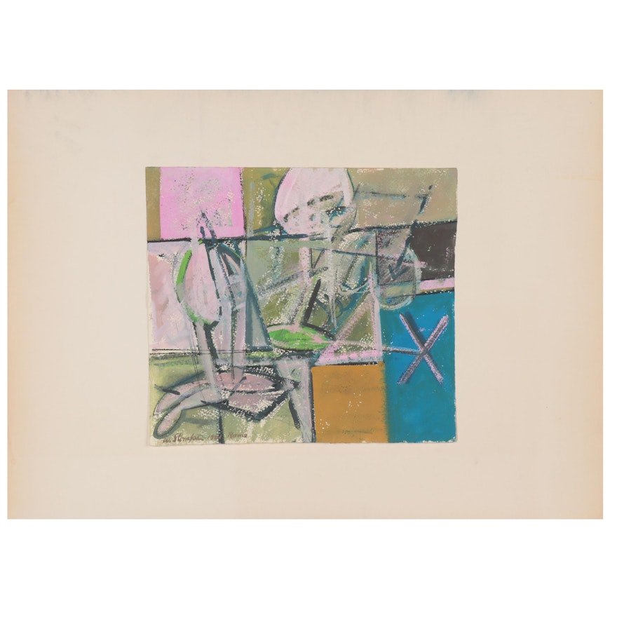 Walter Stomps Abstract Acrylic Painting, 1961
