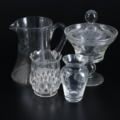 Needle Etched Small Pitcher and Other Glass Tableware, Early-Mid 20th Century