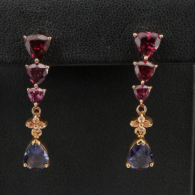 10K Graduated Garnet and Topaz Earrings