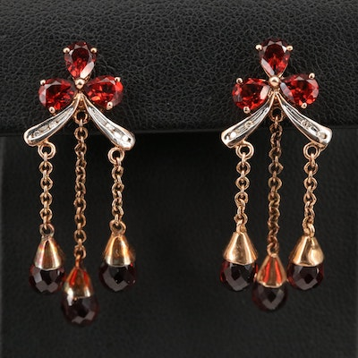 10K Garnet and Diamond Girandole Earrings