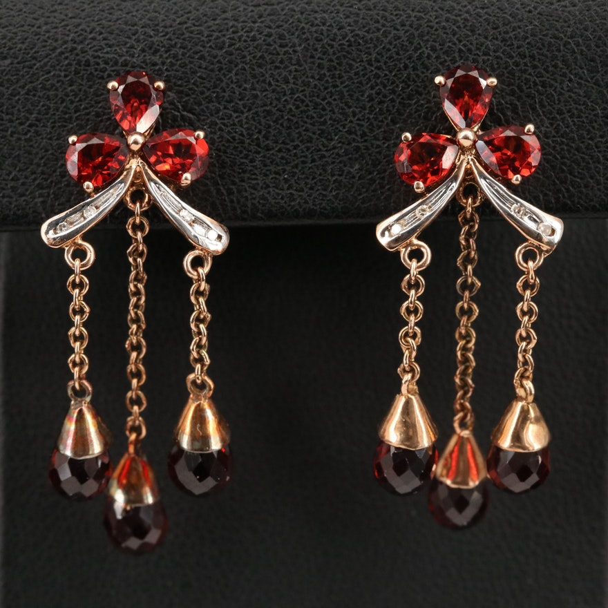 10K Garnet and Diamond Girandole Earrings