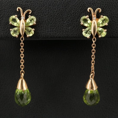 10K Peridot and Diamond Butterfly Drop Earrings