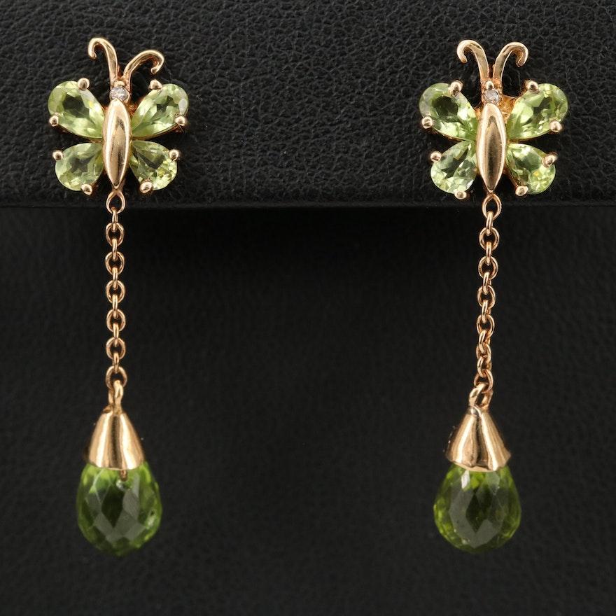 10K Peridot and Diamond Butterfly Drop Earrings