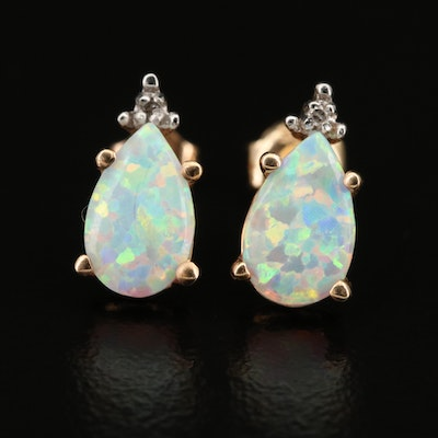 10K Opal and Diamond Earrings