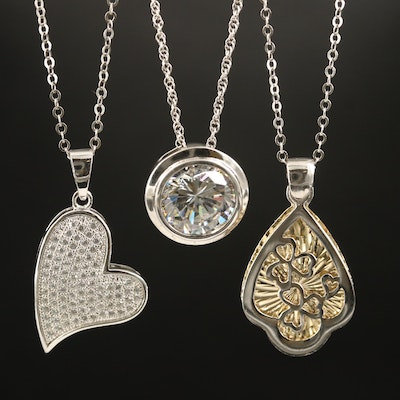 Sterling Heart, Solitaire and Clover Necklaces with Cubic Zirconia