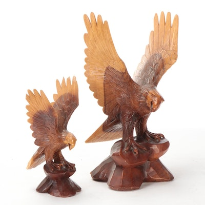 Hand-Carved Wooden Bald Eagle Figurines
