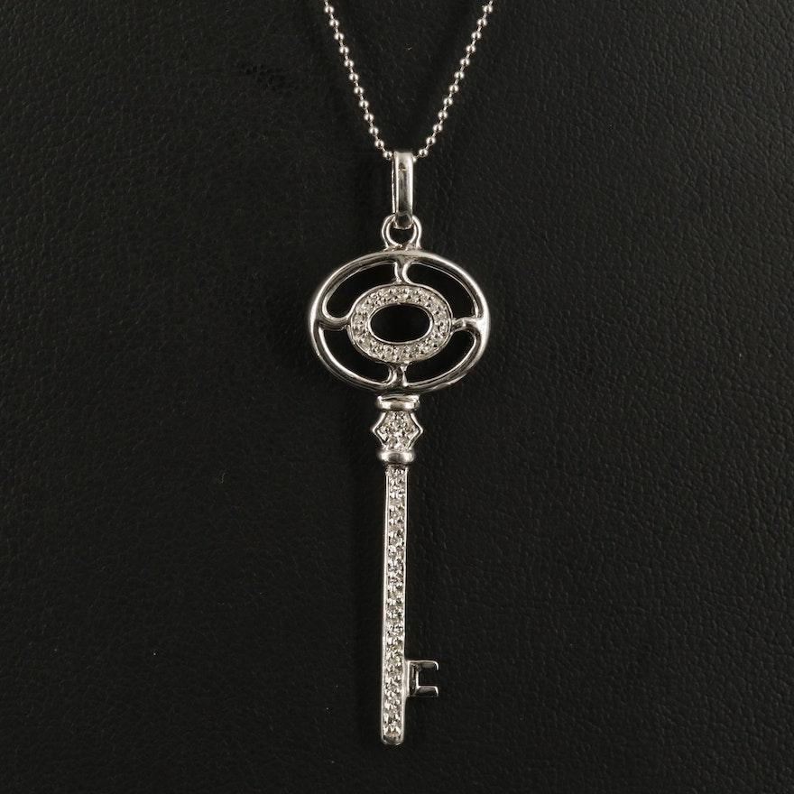 Sterling Diamond Oval Key Necklace