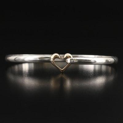 Sterling and 14K Heart Hook Cuff