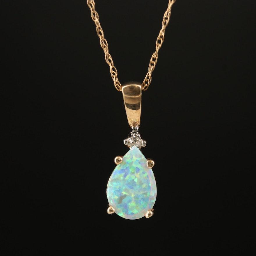 10K Opal and Diamond Pendant Necklace