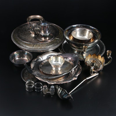 Rogers, Lunt and Bowlen Sterling Silver Shaker Stand with Silver Plate Tableware