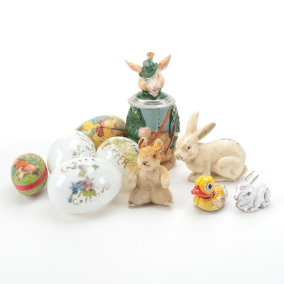 German Ceramic Sheep Stein with Rabbit and Other Easter Décor