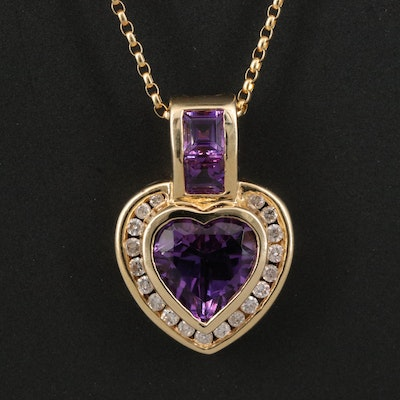 14K Amethyst and Diamond Heart Pendant Necklace