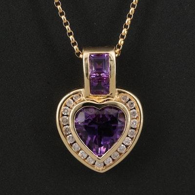 14K Amethyst and Diamond Heart Pendant Necklace