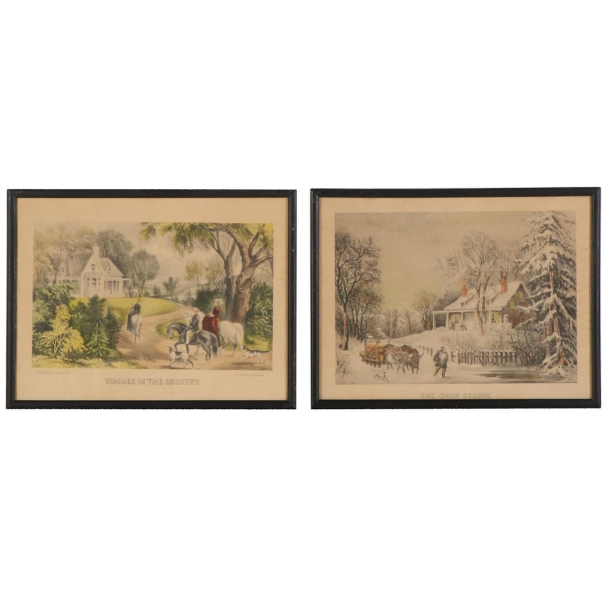 """Currier & Ives Hand-Colored Lithographs Including """"Summer in the Country"""""""