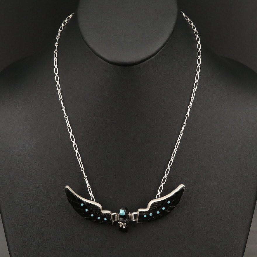 Southwestern Signed Sterling Faux Turquoise Bird Necklace with Articulated Wings
