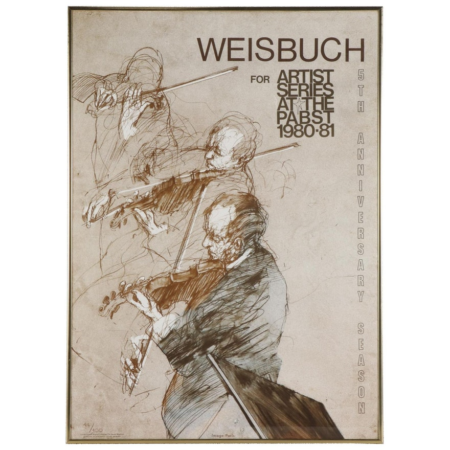 """Claude Weisbuch Lithograph """"Artist Series at the Pabst,"""" 1980"""