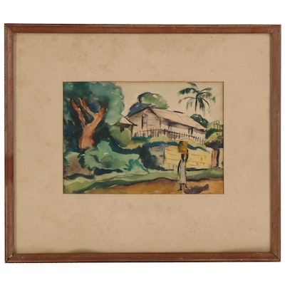 Watercolor Painting of Cottage and Figure