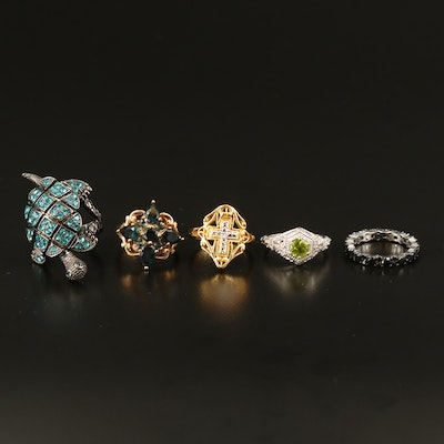 Sterling Diamond, Peridot and Cubic Zirconia Rings and Turtle Ring