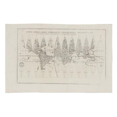 Heinrich Scherer World Map, 19th Century