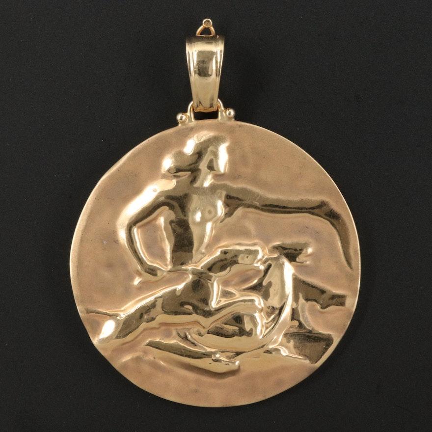 Italian 14K Repoussé Enhancer Medallion Depicting Artemis, Goddess of the Hunt