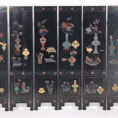 Chinese Lacquered and Paint-Decorated Wood Six-Panel Room Divider