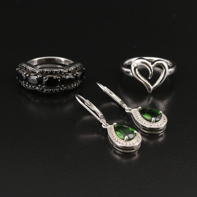 Sterling Heart and Black Spinel Rings and Diopside Teardrop Earrings