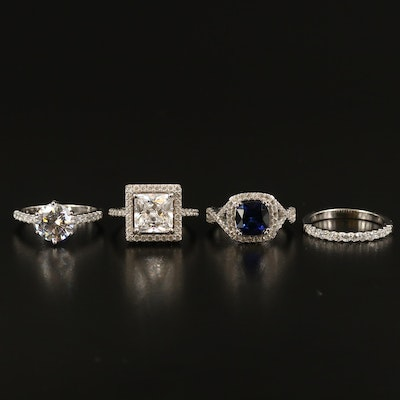 Sterling Sapphire and Cubic Zirconia Rings