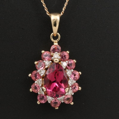 14K Tourmaline and Diamond Halo Pendant Necklace