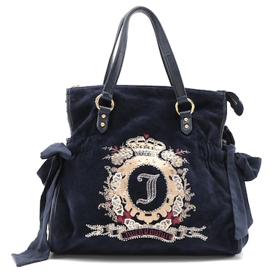 Juicy Couture Embellished Shoulder Bag in Navy Terry Cloth