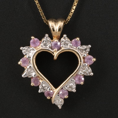 14K Pink Sapphire and Diamond Heart Pendant Necklace
