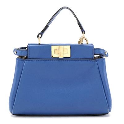 Fendi Micro Peekaboo Bag in Royal Blue Nappa Leather