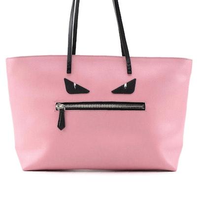 Fendi Monster Roll Tote Bag in Pink/Black Vitello Elite Leather