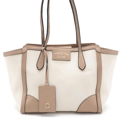 Gucci Swing Tote in Off-White Canvas and Beige Grained Leather