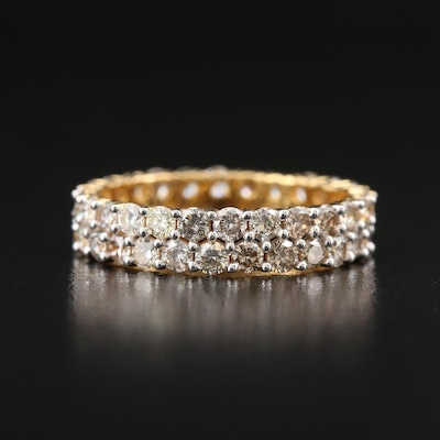 18K 2.26 CTW Diamond Double Row Eternity Band