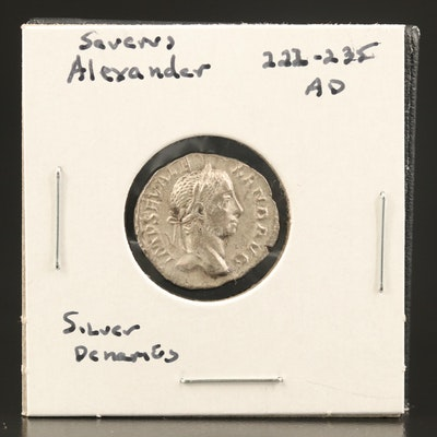 Ancient Roman Imperial AR Denarius of Severus Alexander, ca. 229 AD