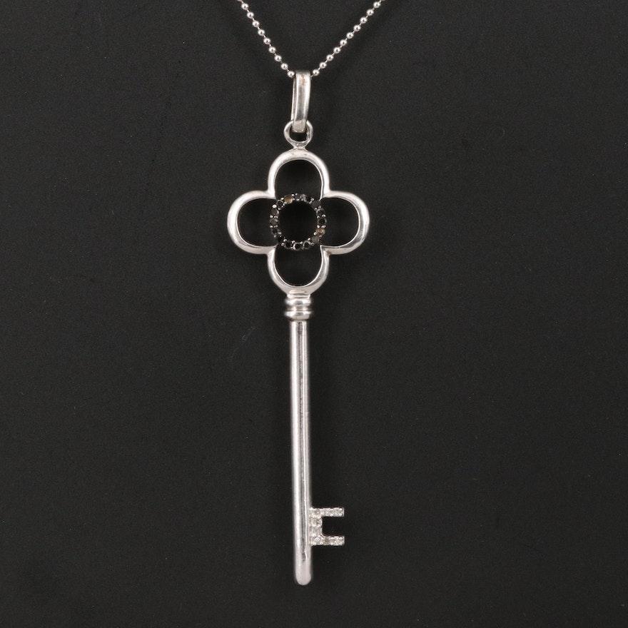 Sterling Diamond Quatrefoil Key Necklace