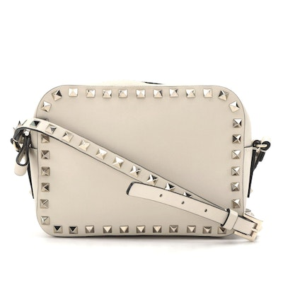 Valentino Rockstud Spike Beige Leather Crossbody