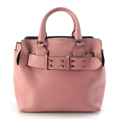 Burberry Pink Pebbled and Dark Green Grained Leather Two-Way Tote