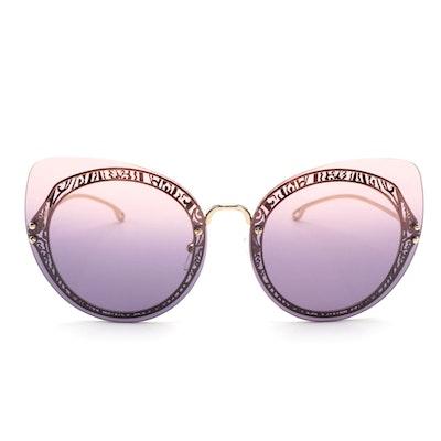 ETRO ET114SC Rimless Cat Eye Sunglasses with Pink and Purple Gradient Lenses